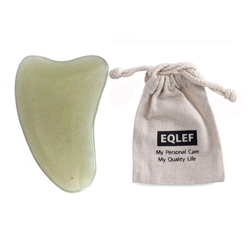 EQLEF® Jade Gua Sha Scraping Massage Tool Hand Made Jade Guasha Board , Tools for Graston SPA Acupuncture Therapy Trigger Point Treatment on Face Arm Foot Small Triangle Shape
